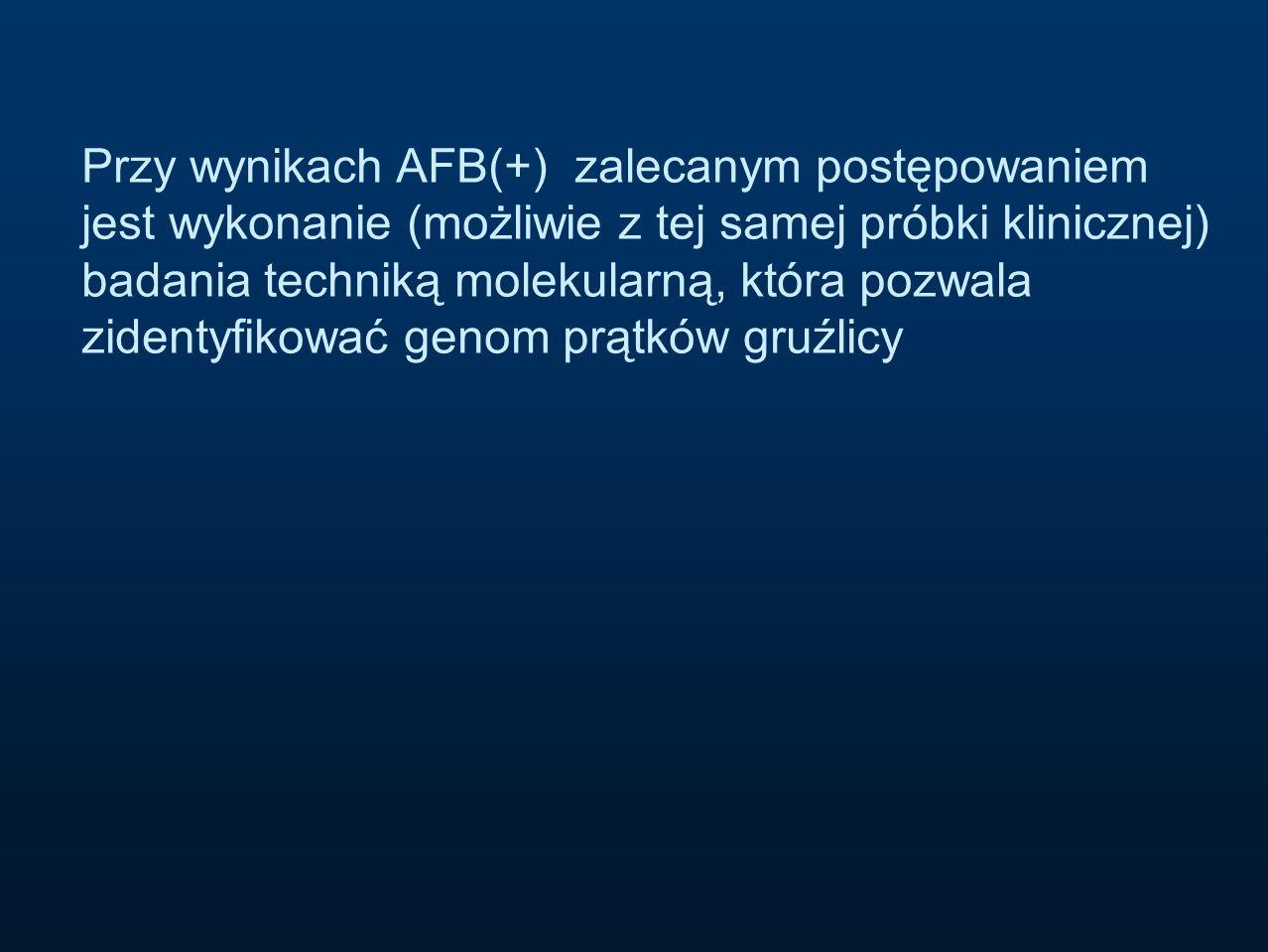 Przy wynikach AFB(+) zalecanym postępowaniem jest wykonanie (możliwie z tej samej próbki klinicznej) badania techniką molekularną, która pozwala zidentyfikować genom prątków gruźlicy
