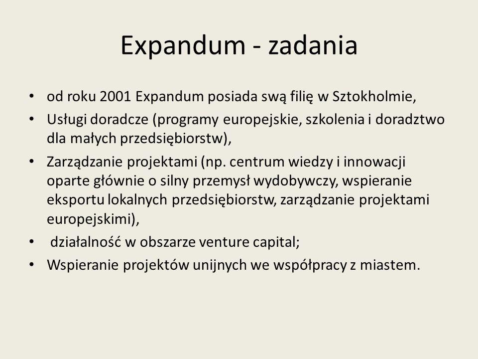 Expandum - zadania od roku 2001 Expandum posiada swą filię w Sztokholmie,