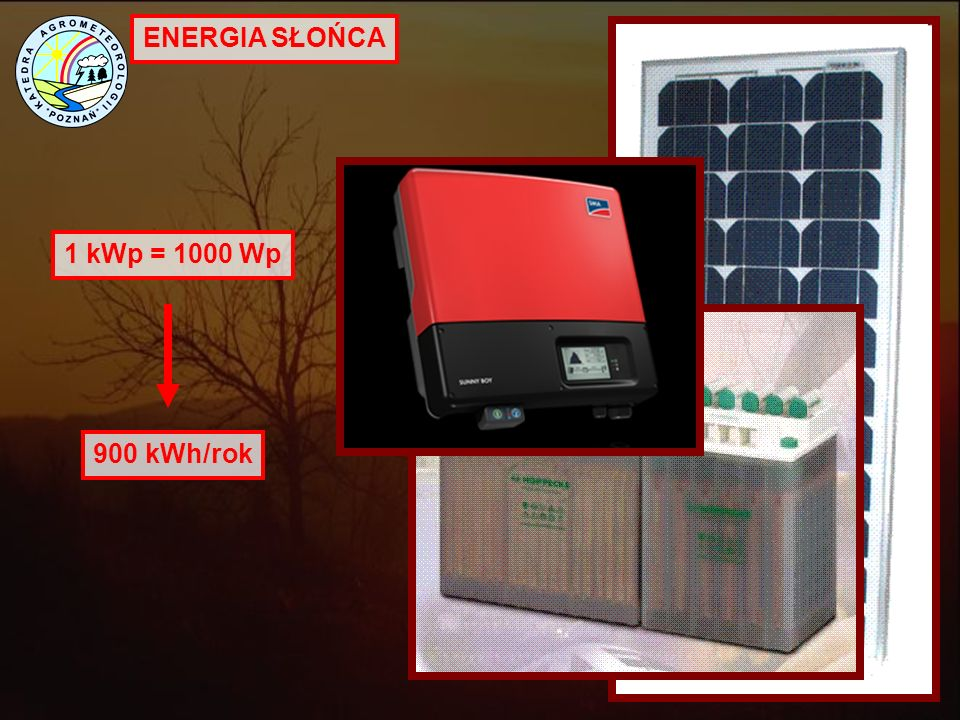 ENERGIA SŁOŃCA 1 kWp = 1000 Wp 900 kWh/rok