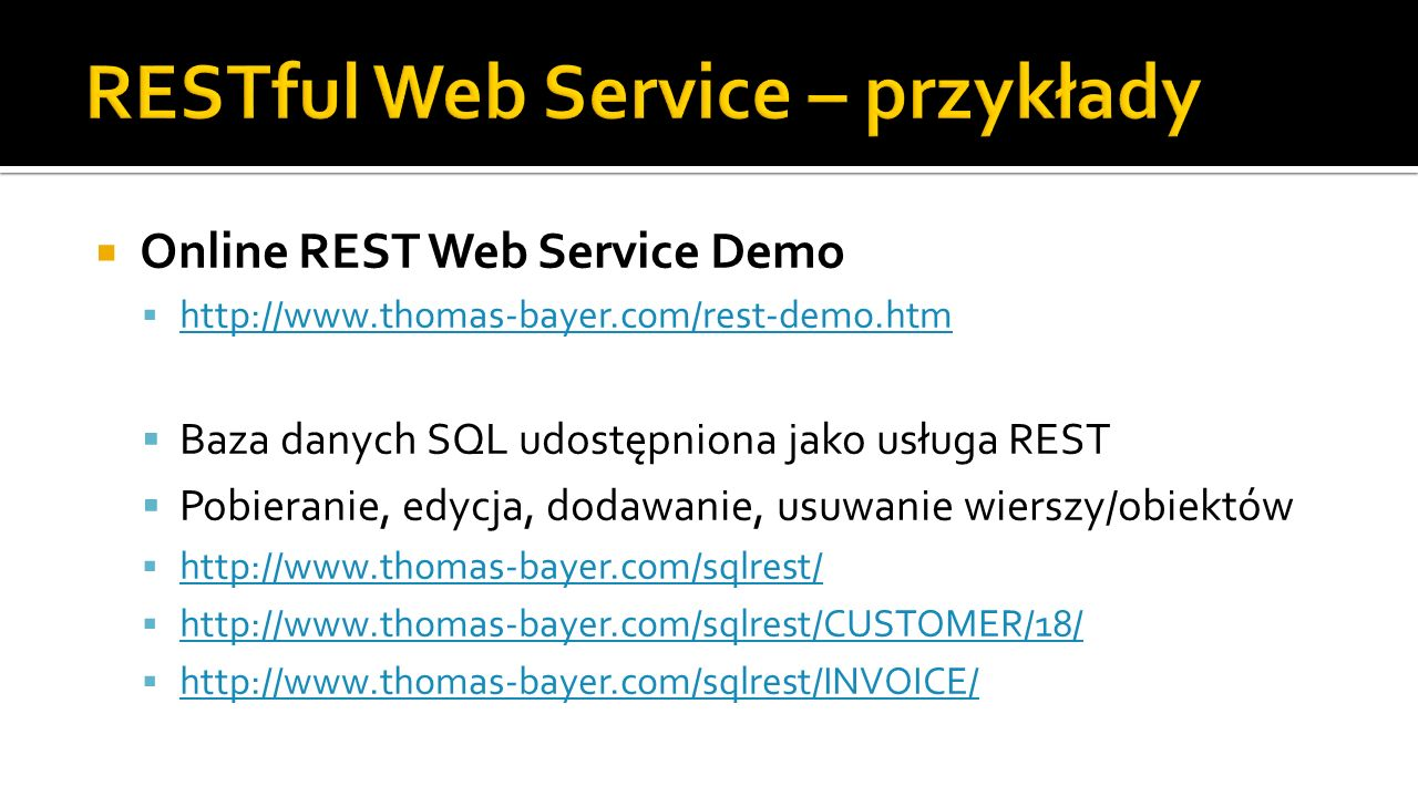 RESTful Web Service – przykłady