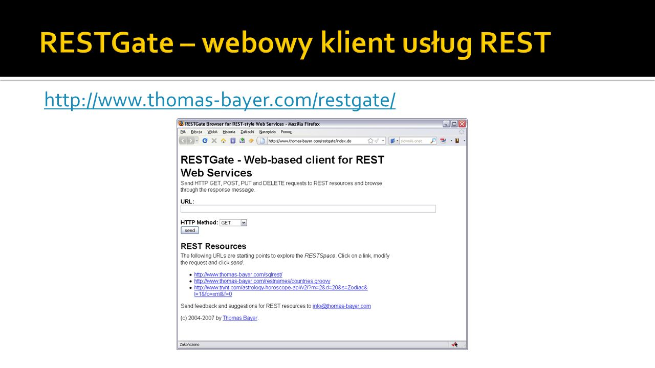 RESTGate – webowy klient usług REST