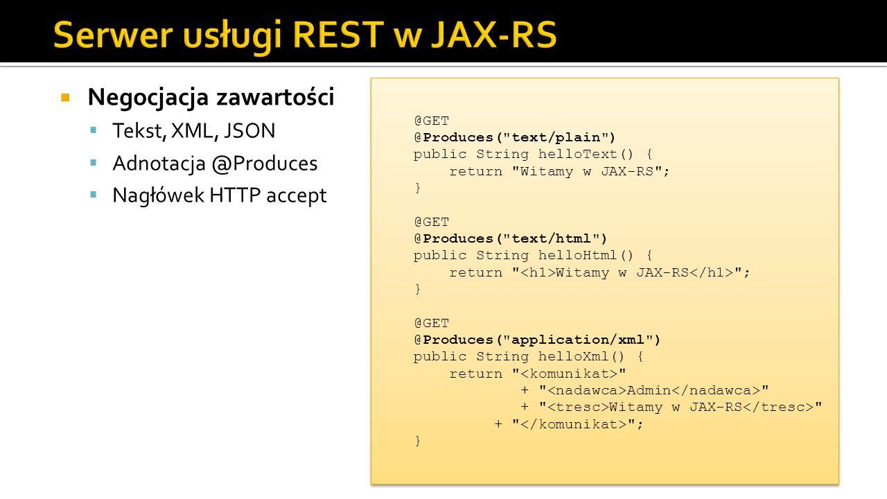 Serwer usługi REST w JAX-RS