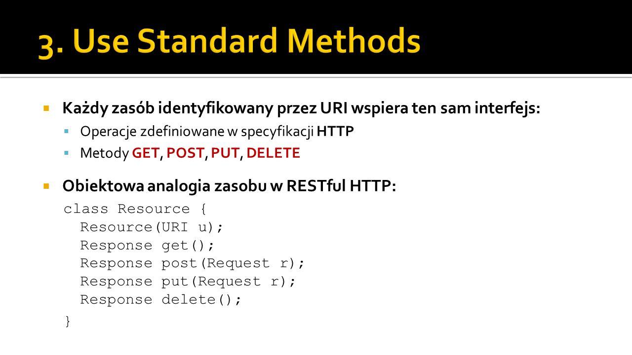 3. Use Standard Methods Każdy zasób identyfikowany przez URI wspiera ten sam interfejs: Operacje zdefiniowane w specyfikacji HTTP.