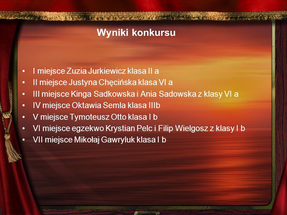 Wyniki konkursu I miejsce Zuzia Jurkiewicz klasa II a