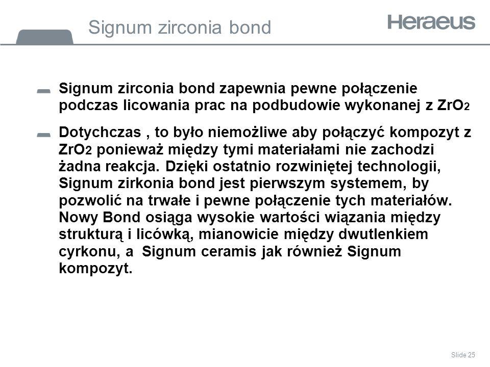 Signum zirconia bond Signum zirconia bond zapewnia pewne połączenie podczas licowania prac na podbudowie wykonanej z ZrO2.