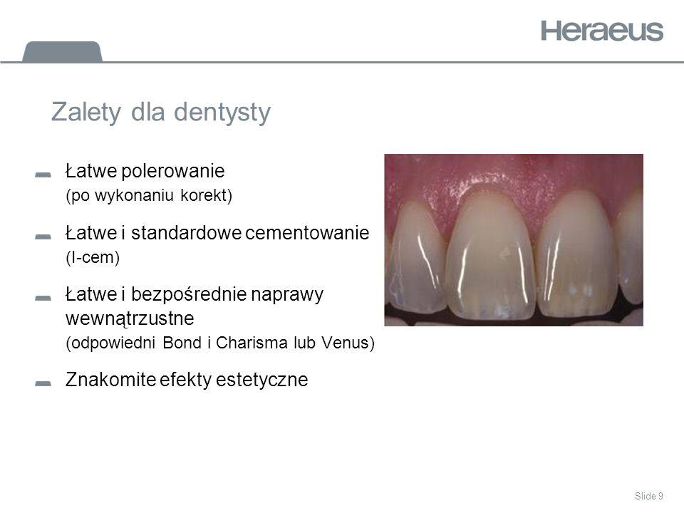 Zalety dla dentysty Łatwe polerowanie (po wykonaniu korekt)