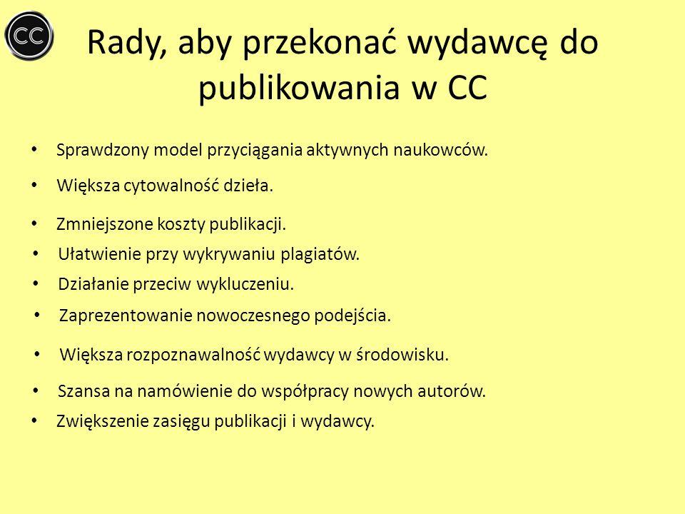Rady, aby przekonać wydawcę do publikowania w CC