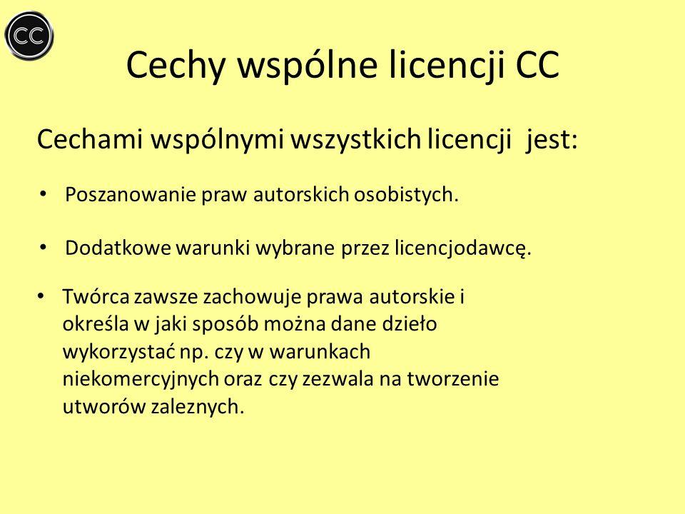 Cechy wspólne licencji CC