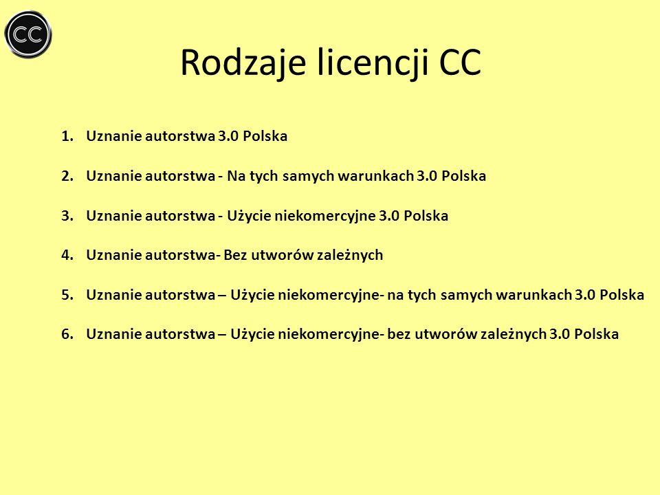 Rodzaje licencji CC Uznanie autorstwa 3.0 Polska