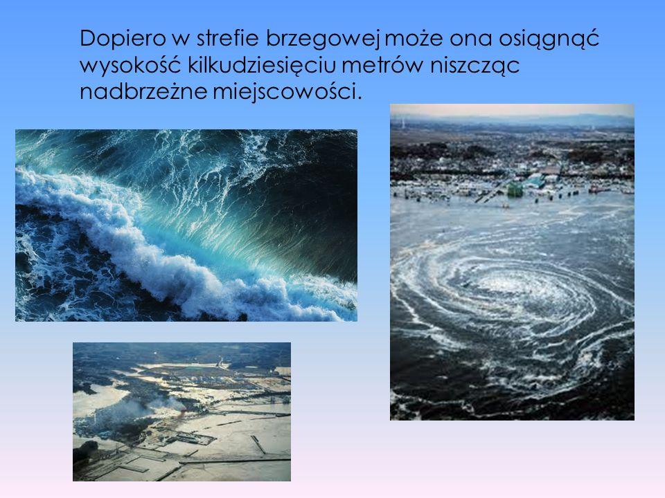 Dopiero w strefie brzegowej może ona osiągnąć wysokość kilkudziesięciu metrów niszcząc nadbrzeżne miejscowości.