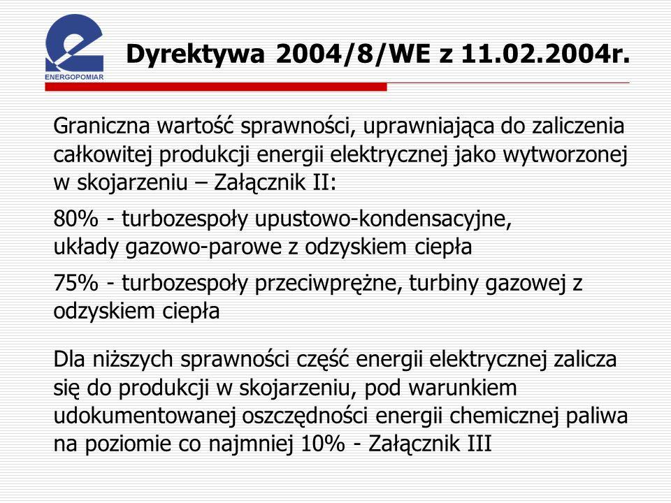 Dyrektywa 2004/8/WE z 11.02.2004r.