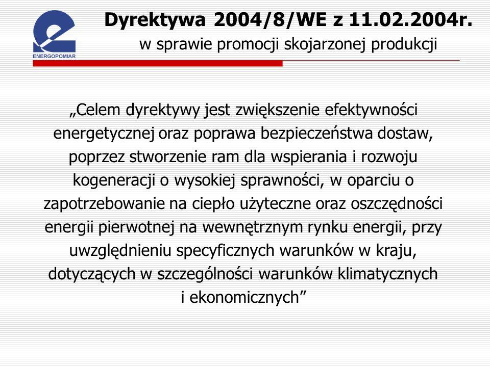 Dyrektywa 2004/8/WE z 11.02.2004r. w sprawie promocji skojarzonej produkcji