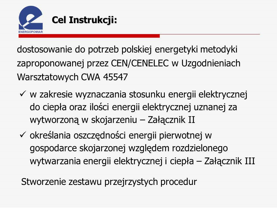 Cel Instrukcji: dostosowanie do potrzeb polskiej energetyki metodyki zaproponowanej przez CEN/CENELEC w Uzgodnieniach Warsztatowych CWA 45547.
