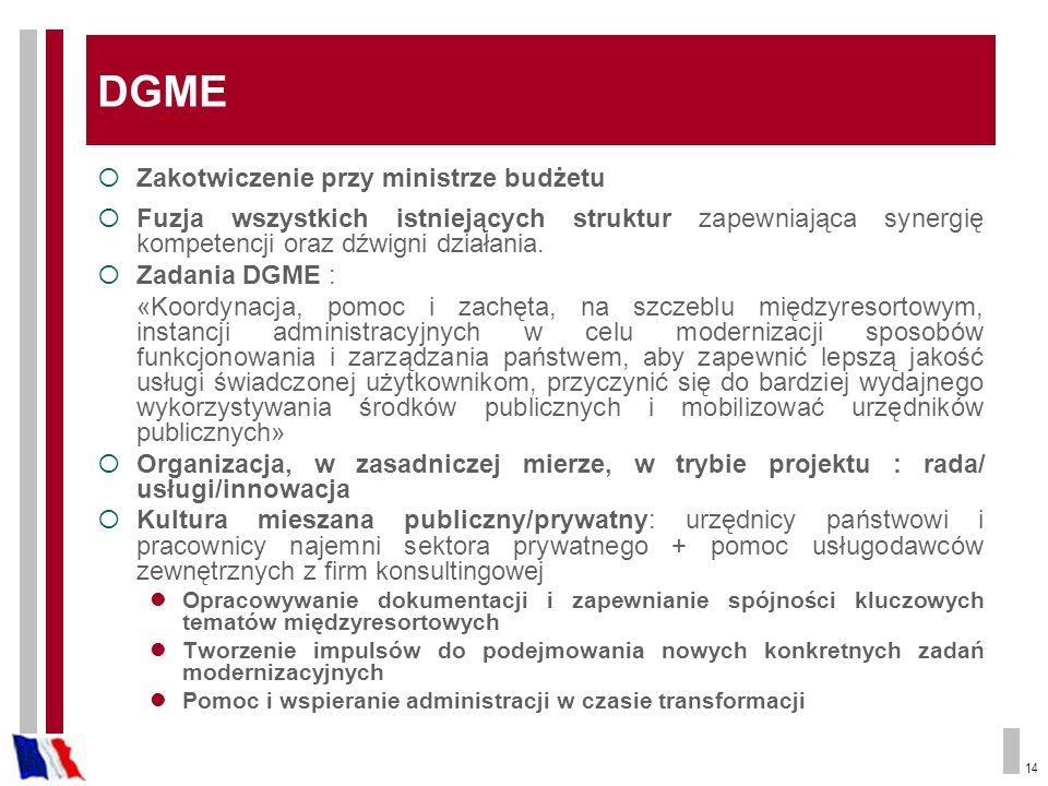 DGME Zakotwiczenie przy ministrze budżetu