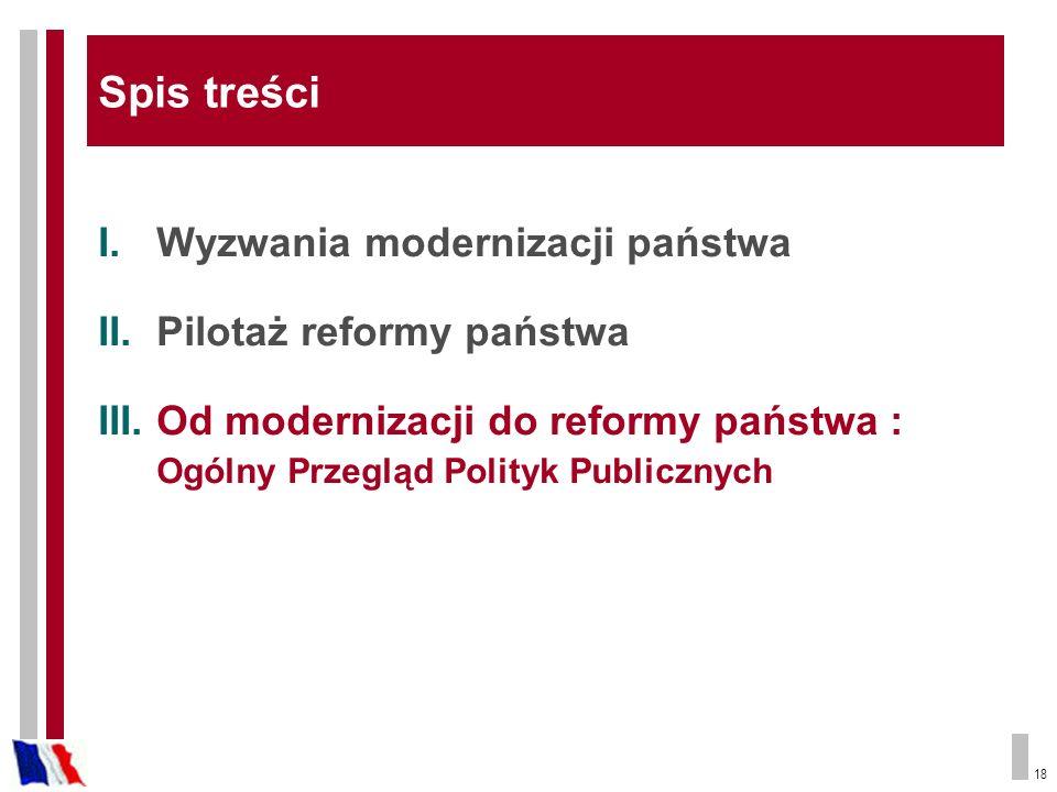 Spis treści Wyzwania modernizacji państwa Pilotaż reformy państwa