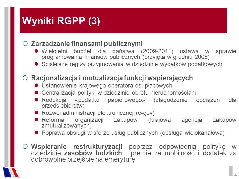 Wyniki RGPP (3) Zarządzanie finansami publicznymi