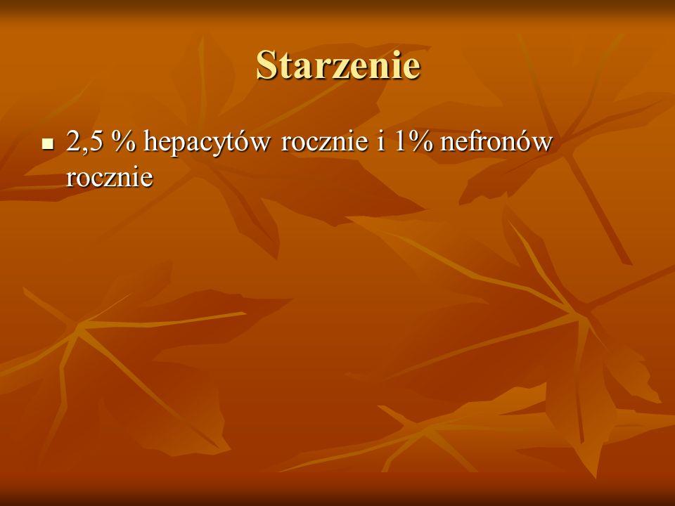 Starzenie 2,5 % hepacytów rocznie i 1% nefronów rocznie