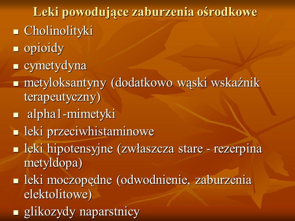 Leki powodujące zaburzenia ośrodkowe