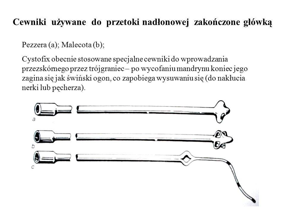 Cewniki używane do przetoki nadłonowej zakończone główką