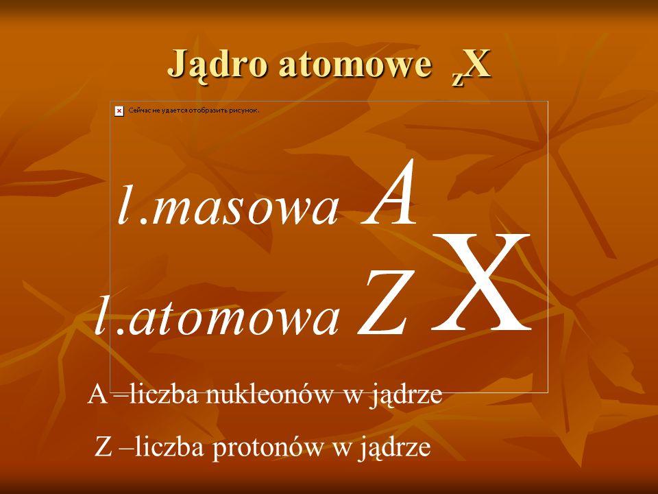 Jądro atomowe zX A –liczba nukleonów w jądrze