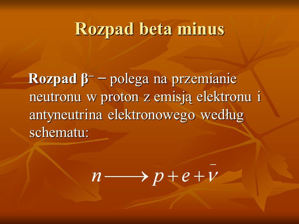 Rozpad beta minus Rozpad β- − polega na przemianie neutronu w proton z emisją elektronu i antyneutrina elektronowego według schematu:
