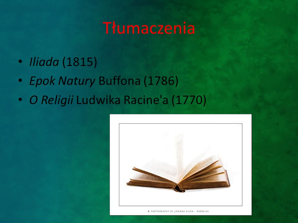 Tłumaczenia Iliada (1815) Epok Natury Buffona (1786)
