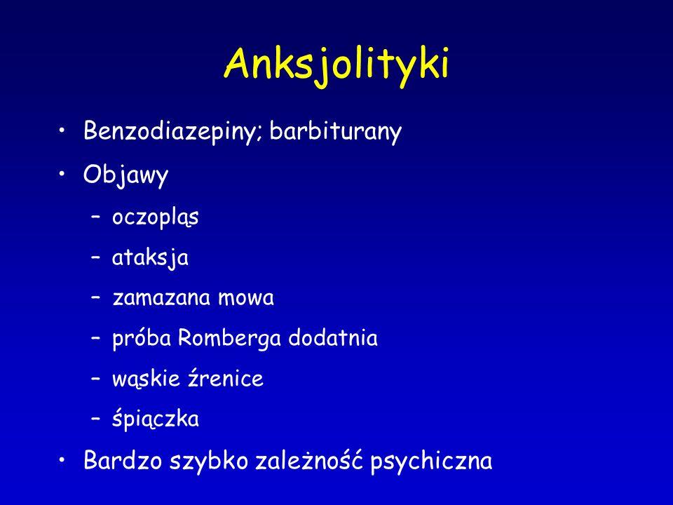 Anksjolityki Benzodiazepiny; barbiturany Objawy