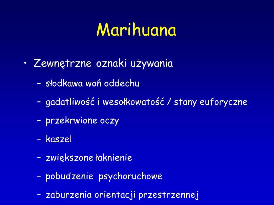 Marihuana Zewnętrzne oznaki używania słodkawa woń oddechu