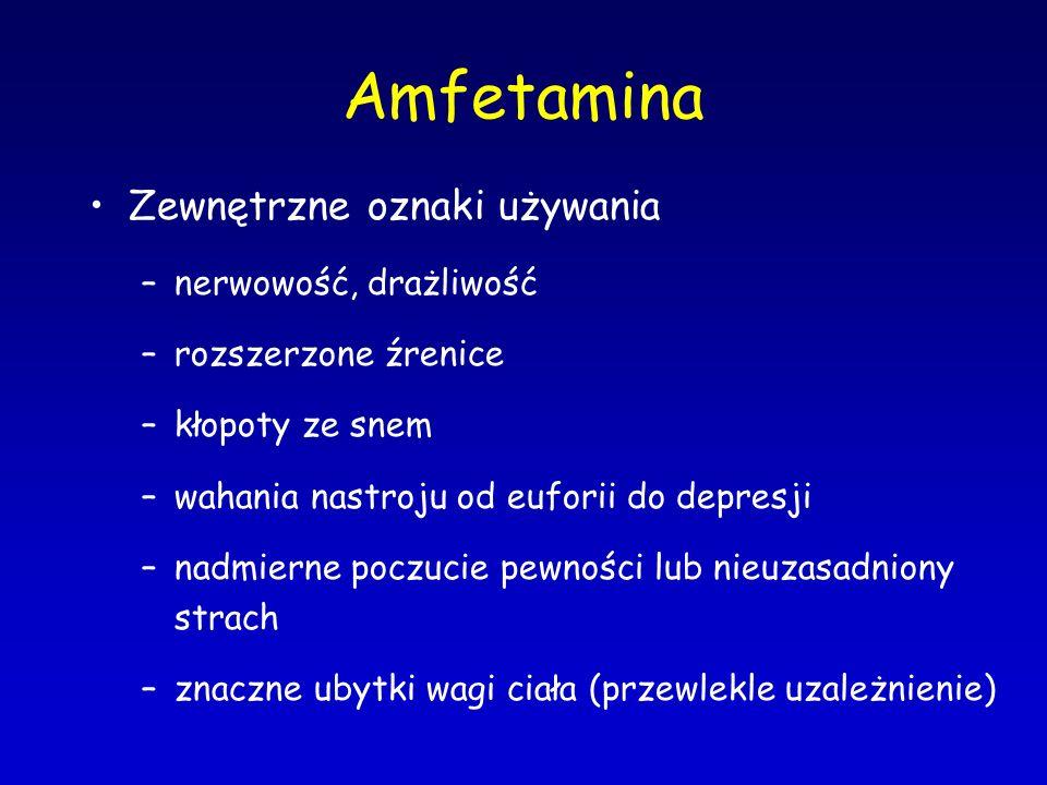 Amfetamina Zewnętrzne oznaki używania nerwowość, drażliwość