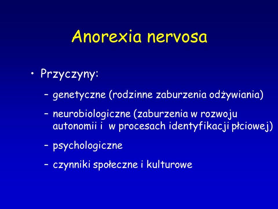 Anorexia nervosa Przyczyny:
