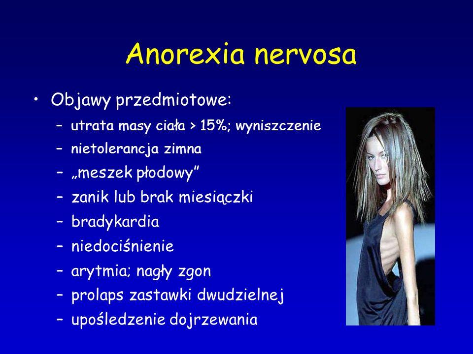 """Anorexia nervosa Objawy przedmiotowe: """"meszek płodowy"""