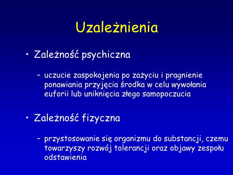 Uzależnienia Zależność psychiczna Zależność fizyczna