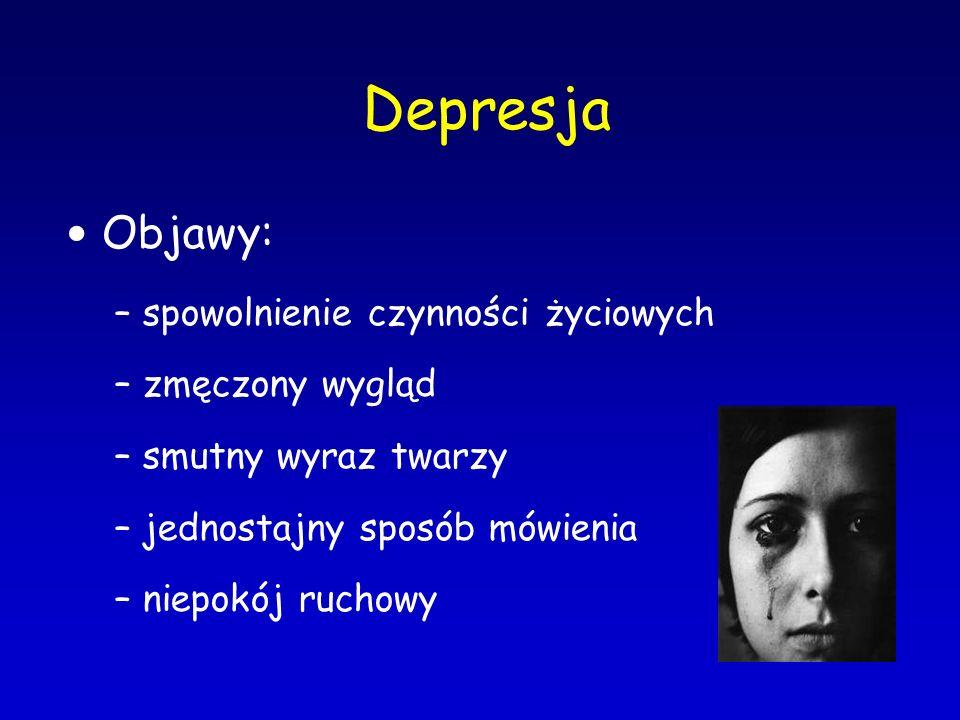 Depresja Objawy: spowolnienie czynności życiowych zmęczony wygląd