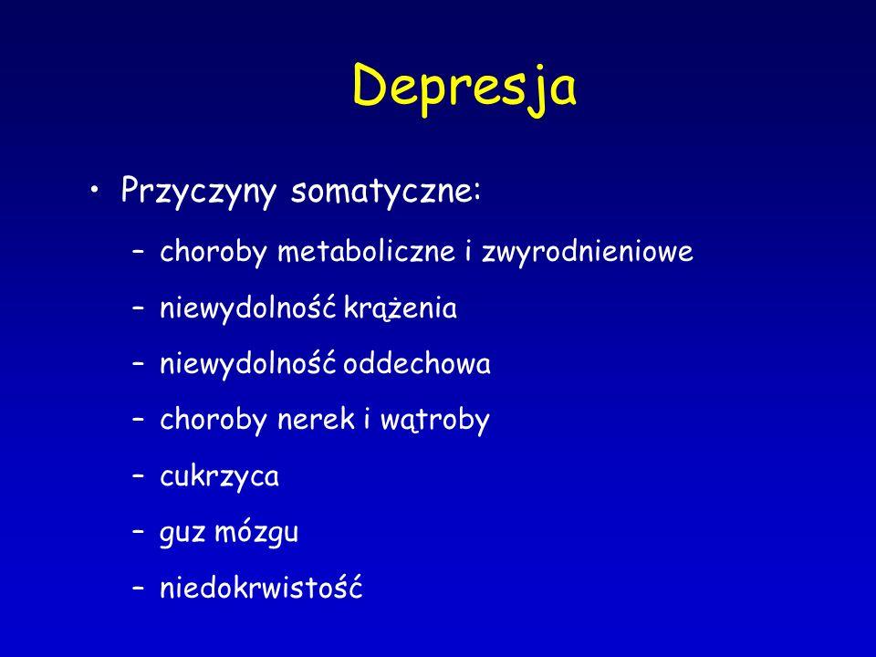 Depresja Przyczyny somatyczne: choroby metaboliczne i zwyrodnieniowe