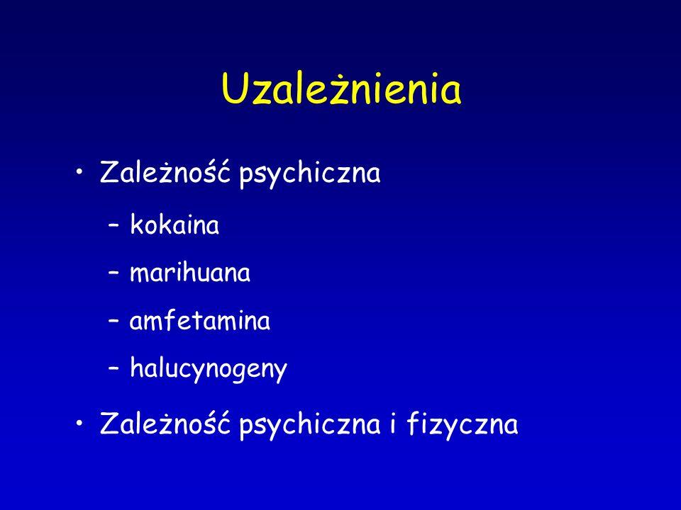 Uzależnienia Zależność psychiczna Zależność psychiczna i fizyczna
