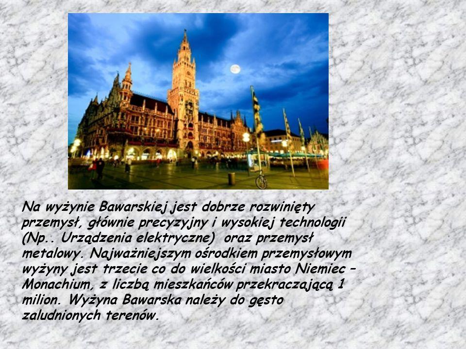 Na wyżynie Bawarskiej jest dobrze rozwinięty przemysł, głównie precyzyjny i wysokiej technologii (Np..