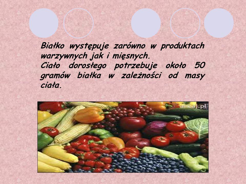 Białko występuje zarówno w produktach warzywnych jak i mięsnych.