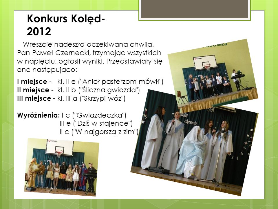 Konkurs Kolęd- 2012 Wreszcie nadeszła oczekiwana chwila. Pan Paweł Czernecki, trzymając wszystkich.