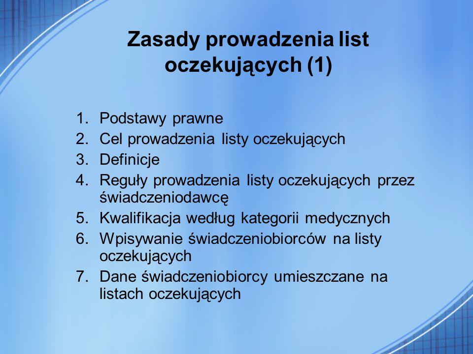 Zasady prowadzenia list oczekujących (1)