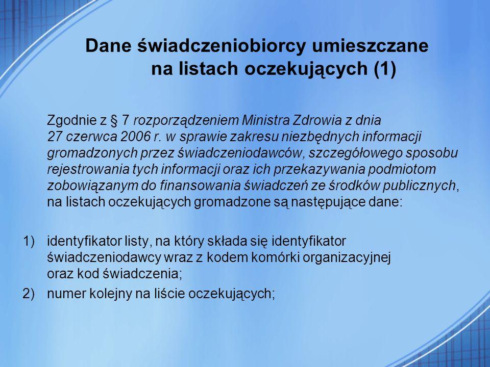 Dane świadczeniobiorcy umieszczane na listach oczekujących (1)