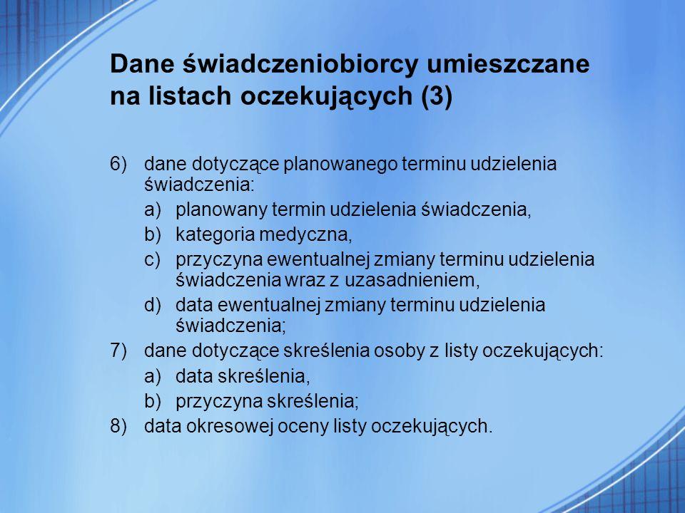 Dane świadczeniobiorcy umieszczane na listach oczekujących (3)