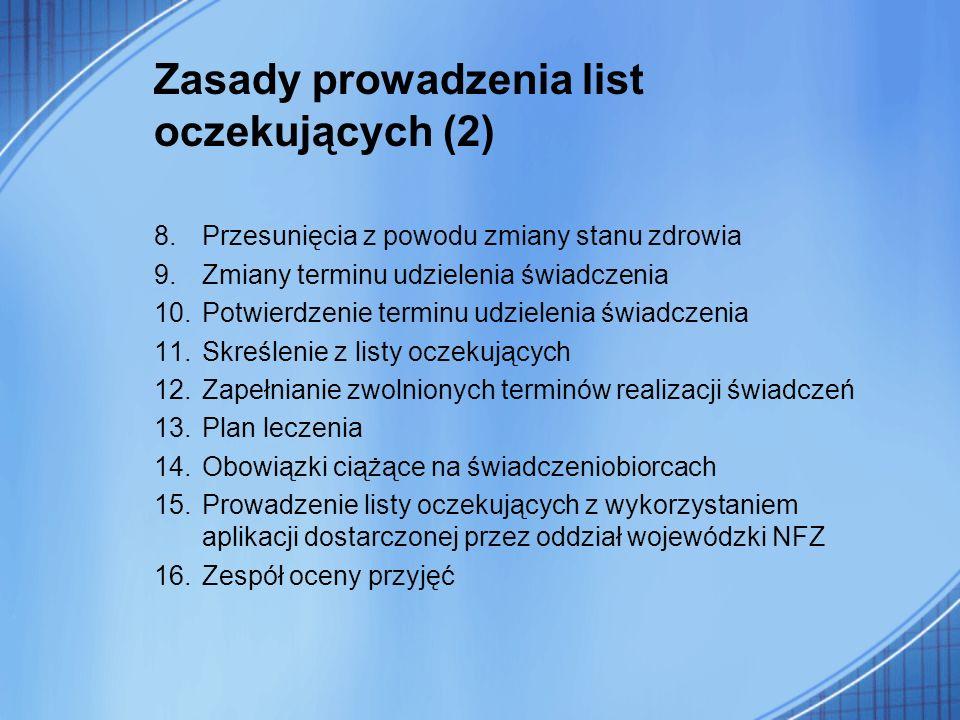 Zasady prowadzenia list oczekujących (2)