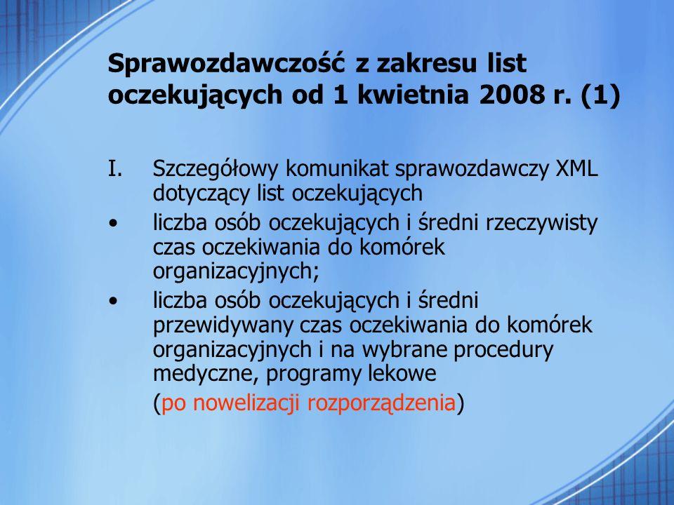 Sprawozdawczość z zakresu list oczekujących od 1 kwietnia 2008 r. (1)