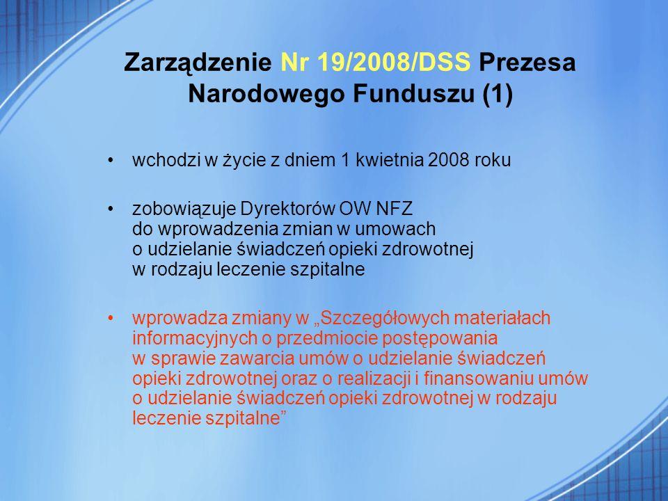 Zarządzenie Nr 19/2008/DSS Prezesa Narodowego Funduszu (1)