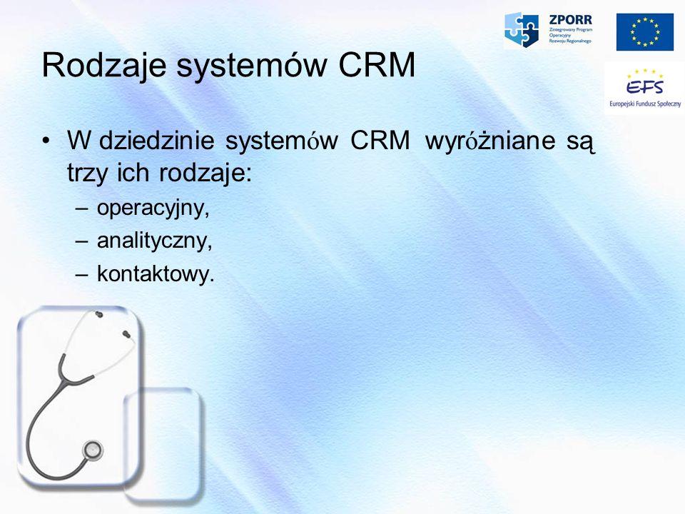 Rodzaje systemów CRM W dziedzinie systemów CRM wyróżniane są trzy ich rodzaje: operacyjny, analityczny,