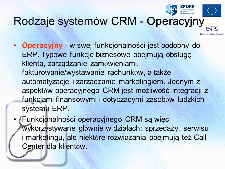 Rodzaje systemów CRM - Operacyjny
