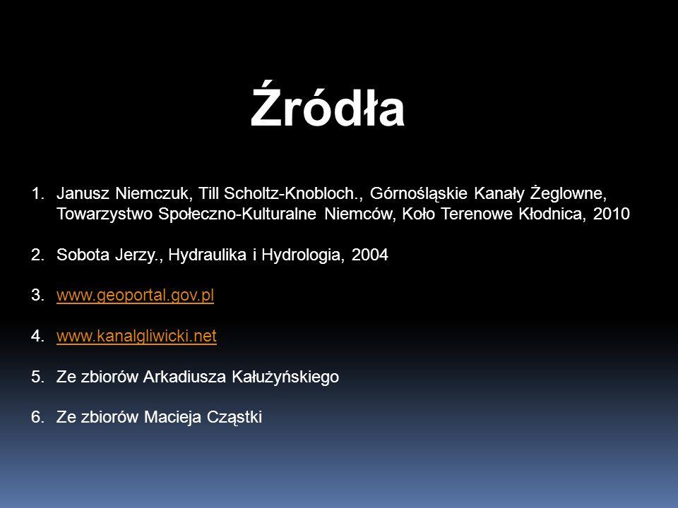 Źródła Janusz Niemczuk, Till Scholtz-Knobloch., Górnośląskie Kanały Żeglowne, Towarzystwo Społeczno-Kulturalne Niemców, Koło Terenowe Kłodnica, 2010.