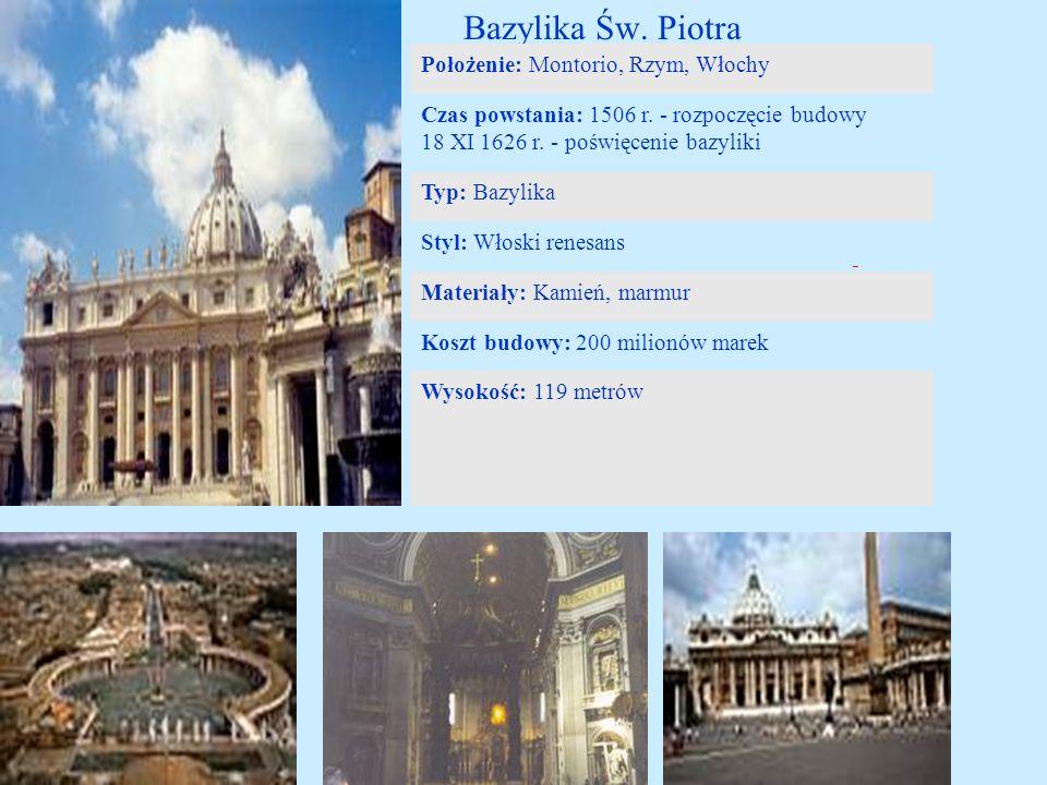 Bazylika Św. Piotra Położenie: Montorio, Rzym, Włochy