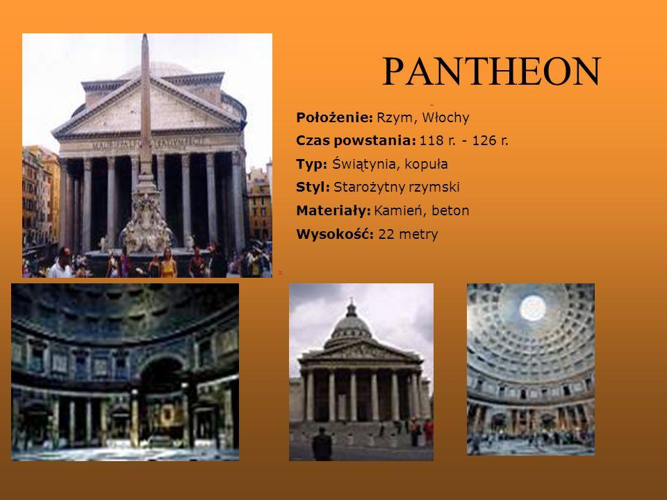 PANTHEON Położenie: Rzym, Włochy Czas powstania: 118 r. - 126 r.