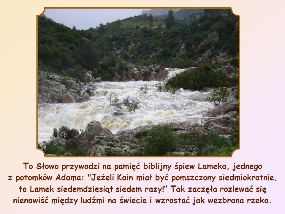 To Słowo przywodzi na pamięć biblijny śpiew Lameka, jednego z potomków Adama: Jeżeli Kain miał być pomszczony siedmiokrotnie, to Lamek siedemdziesiąt siedem razy! Tak zaczęła rozlewać się nienawiść między ludźmi na świecie i wzrastać jak wezbrana rzeka.